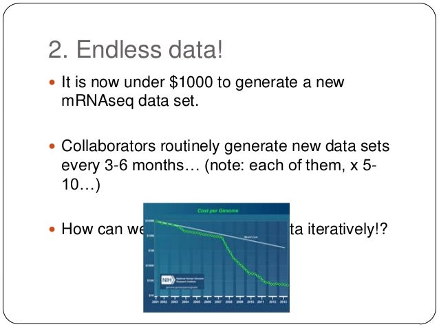 2. Endless data!  It is now under $1000 to generate a new  mRNAseq data set.  Collaborators routinely generate new data ...