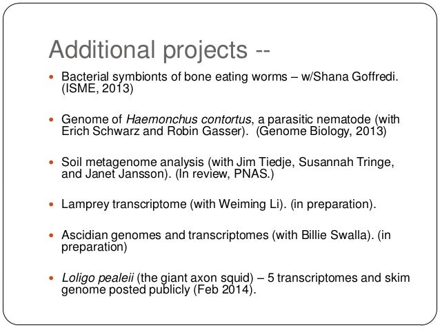 Additional projects - Bacterial symbionts of bone eating worms – w/Shana Goffredi.  (ISME, 2013)  Genome of Haemonchus c...