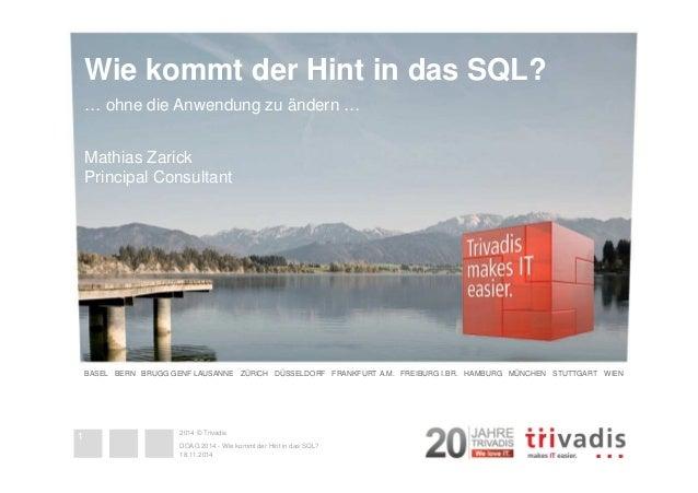 Wie kommt der Hint in das SQL?  … ohne die Anwendung zu ändern …  Mathias Zarick  Principal Consultant  BASEL BERN BRUGG G...