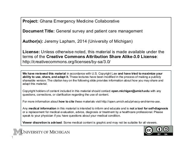 Project: Ghana Emergency Medicine Collaborative Document Title: General survey and patient care management Author(s): Jere...