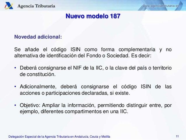 Delegación Especial de la Agencia Tributaria en Andalucía, Ceuta y Melilla Novedad adicional: Se añade el código ISIN como...
