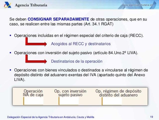 Delegación Especial de la Agencia Tributaria en Andalucía, Ceuta y Melilla Se deben CONSIGNAR SEPARADAMENTE de otras opera...