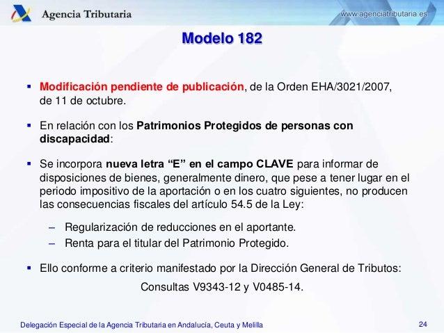 Delegación Especial de la Agencia Tributaria en Andalucía, Ceuta y Melilla Modelo 182  Modificación pendiente de publicac...