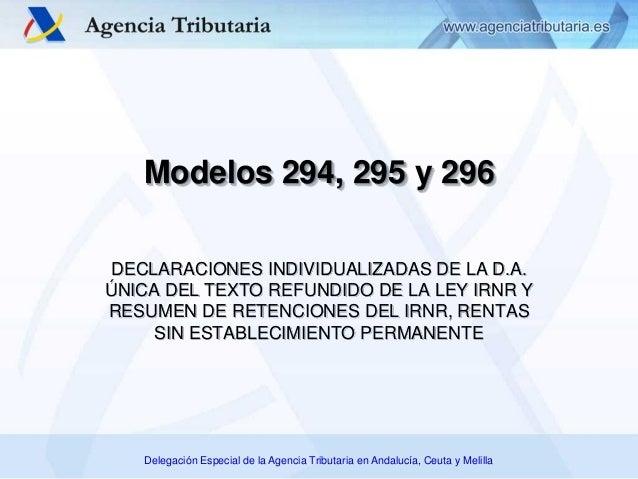 Delegación Especial de la Agencia Tributaria en Andalucía, Ceuta y Melilla Modelos 294, 295 y 296 DECLARACIONES INDIVIDUAL...