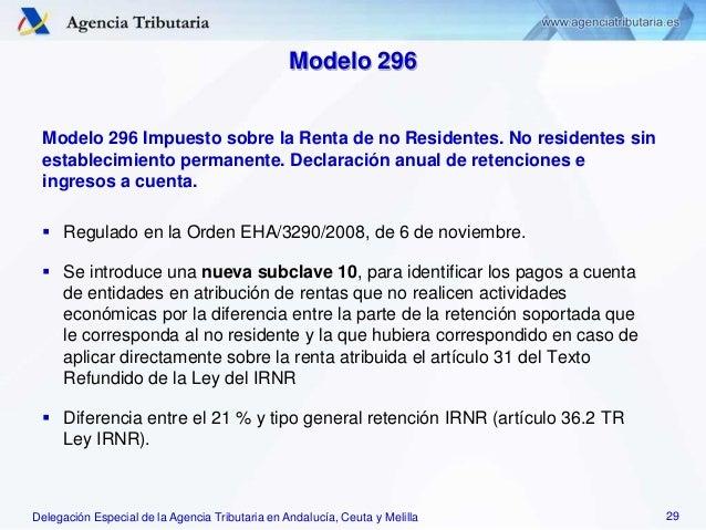 Delegación Especial de la Agencia Tributaria en Andalucía, Ceuta y Melilla Modelo 296 Modelo 296 Impuesto sobre la Renta d...