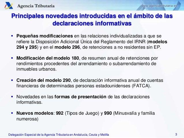 Delegación Especial de la Agencia Tributaria en Andalucía, Ceuta y Melilla Principales novedades introducidas en el ámbito...