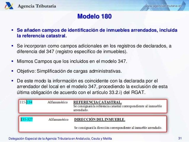 Delegación Especial de la Agencia Tributaria en Andalucía, Ceuta y Melilla Modelo 180  Se añaden campos de identificación...