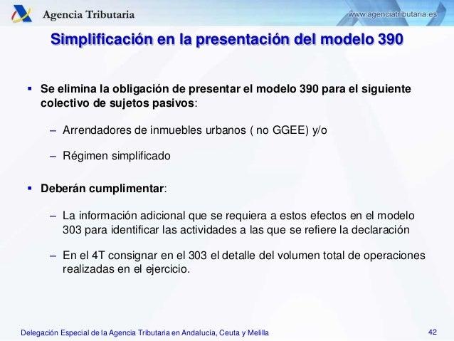 Delegación Especial de la Agencia Tributaria en Andalucía, Ceuta y Melilla Simplificación en la presentación del modelo 39...