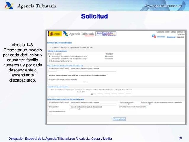 Delegación Especial de la Agencia Tributaria en Andalucía, Ceuta y Melilla Modelo 143. Presentar un modelo por cada deducc...