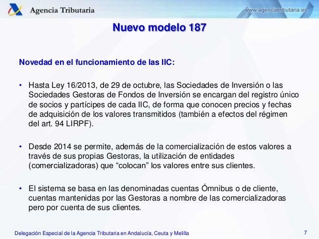 Delegación Especial de la Agencia Tributaria en Andalucía, Ceuta y Melilla Nuevo modelo 187 Novedad en el funcionamiento d...