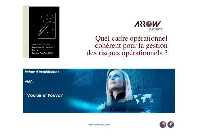 Quel cadre opérationnel cohérent pour la gestion des risques opérationnels ? Retour d'expérience : Jean-Luc Masselin Direc...