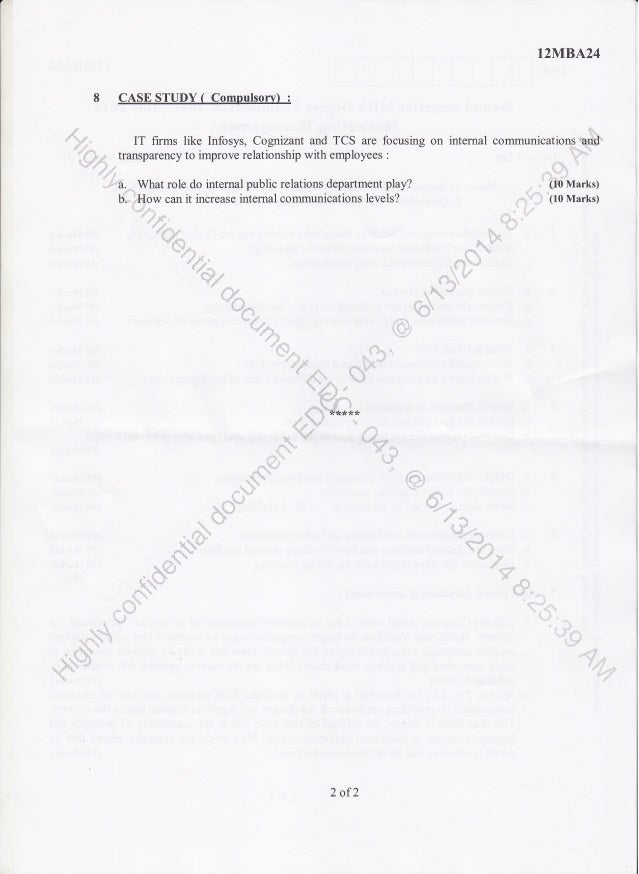 2nd Semester MBA (June-2014) Question Papers