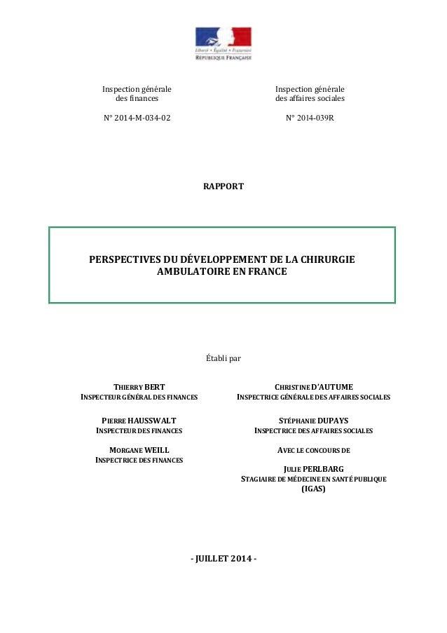 Inspection générale des finances Inspection générale des affaires sociales N° 2014-M-034-02 N° 2014-039R RAPPORT PERSPECTI...