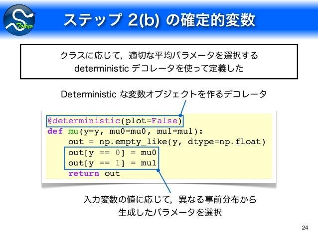 24 @deterministic(plot=False) def mu(y=y, mu0=mu0, mu1=mu1): out = np.empty_like(y, dtype=np.float) out[y == 0] = mu0 out[...