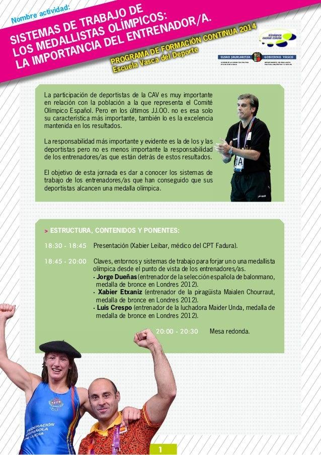 SISTEMAS DE TRABAJO DE LOS MEDALLISTAS OLÍMPICOS: LA IMPORTANCIA DEL ENTRENADOR/A.Nombre actividad: 1 PROGRAMA DE FORMACIÓ...