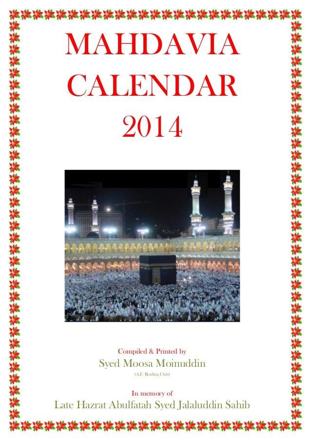 Sluh Calendar.2014 Mahdavia Calendar