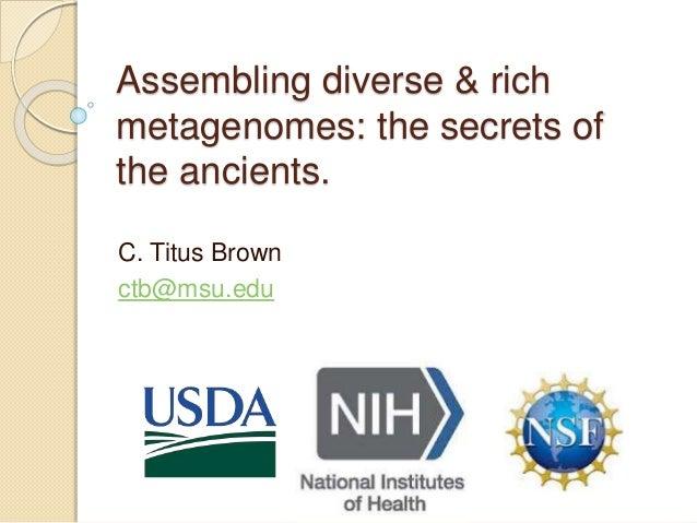 Assembling diverse & rich metagenomes: the secrets of the ancients. C. Titus Brown ctb@msu.edu