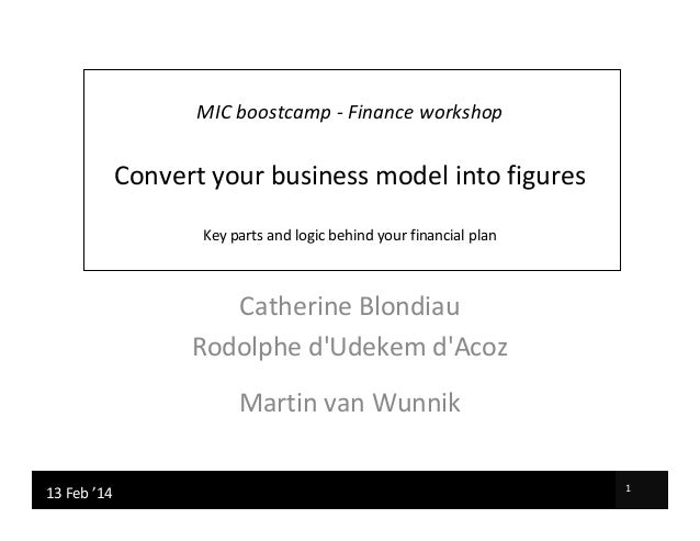 MIC boostcamp - Finance workshop  Convert your business model into figures Key parts and logic behind your financial plan ...