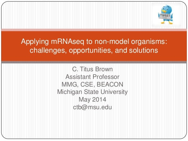 C. Titus Brown Assistant Professor MMG, CSE, BEACON Michigan State University May 2014 ctb@msu.edu Applying mRNAseq to non...