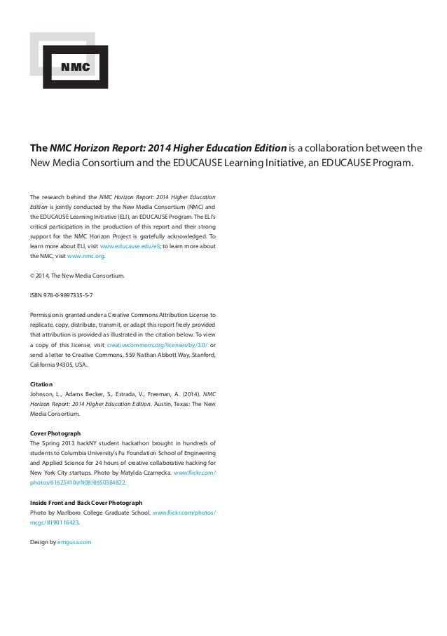 The NMC Horizon Report: 2014 Higher Education Edition