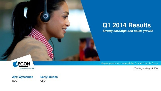 Alex Wynaendts Darryl Button CEO CFO The Hague – May 15, 2014 Q1 2014 Results Strong earnings and sales growth