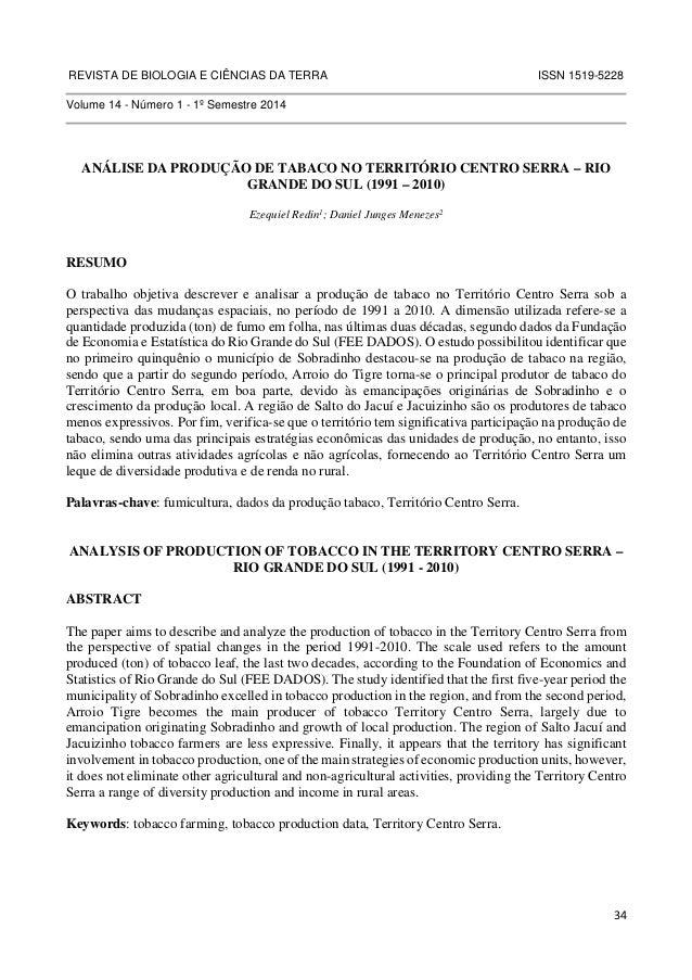 REVISTA DE BIOLOGIA E CIÊNCIAS DA TERRA ISSN 1519-5228  34  Volume 14 - Número 1 - 1º Semestre 2014  ANÁLISE DA PRODUÇÃO D...