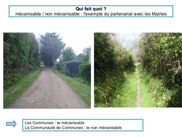 Qui fait quoi ?Qui fait quoi ? mécanisable / non mécanisable : l'exemple du partenariat avec les Mairies Les Communes : le...