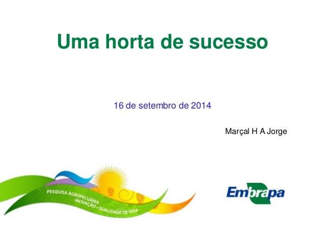 Uma horta de sucesso  16 de setembro de 2014  Marçal H A Jorge