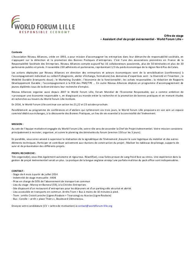 forum lettre de motivation Offre de stage assistant chef de projet évenementiel World Forum Lill… forum lettre de motivation