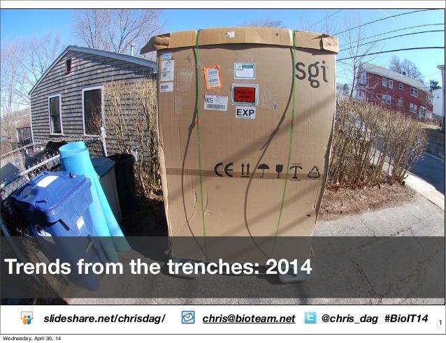 1 Trends from the trenches: 2014 slideshare.net/chrisdag/ chris@bioteam.net @chris_dag #BioIT14 Wednesday, April 30, 14