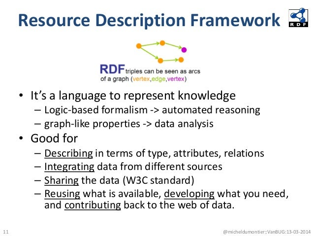 Resource Description Framework • It's a language to represent knowledge – Logic-based formalism -> automated reasoning – g...