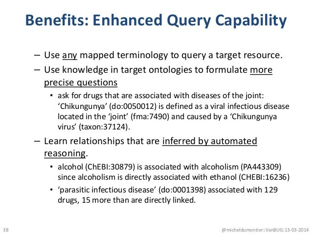 Benefits: Enhanced Query Capability – Use any mapped terminology to query a target resource. – Use knowledge in target ont...