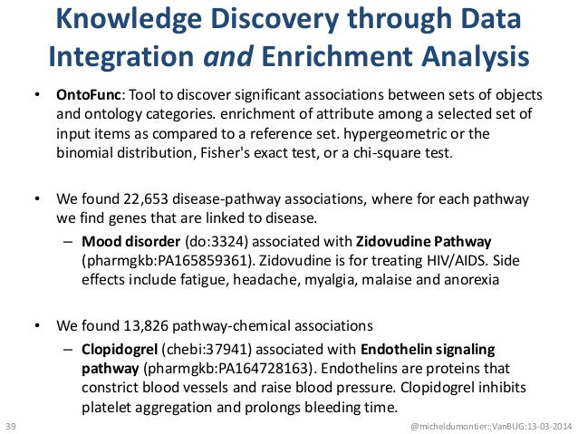 Knowledge Discovery through Data Integration and Enrichment Analysis • OntoFunc: Tool to discover significant associations...