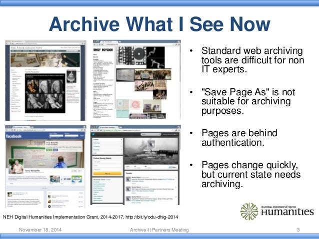 Tools for Managing the Past Web Slide 3