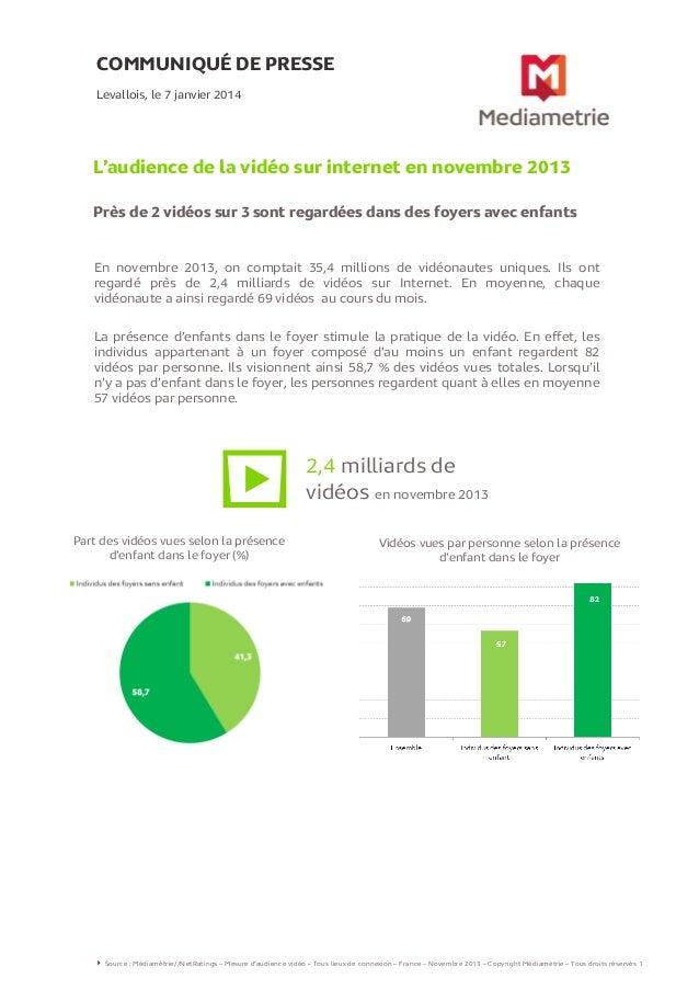 COMMUNIQUÉ DE PRESSE Levallois, le 7 janvier 2014  L'audience de la vidéo sur internet en novembre 2013 Près de 2 vidéos s...
