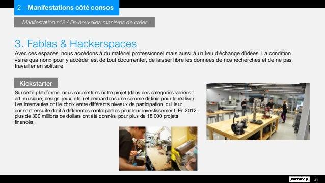 3. Fablas & Hackerspaces Avec ces espaces, nous accédons à du matériel professionnel mais aussi à un lieu d'échange d'idée...