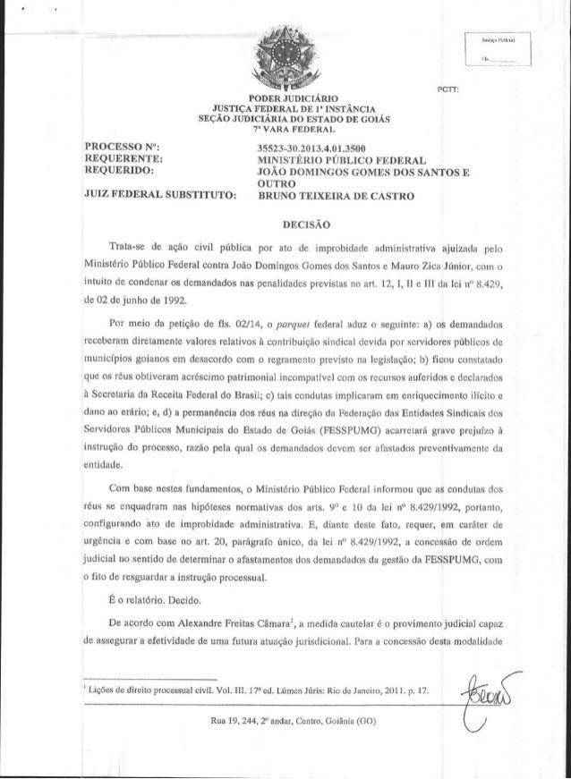 "PODER JUDICIAR]O JUSTICAFEDERALDE I'INSTANCIA SECio JUDICIARIADO IISTADODE GoIAs 7"" VARA FCDIRAL  PROCESSON': REQUERENTE: ..."