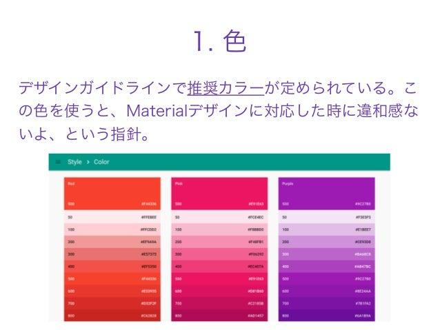 1. 色 デザインガイドラインで推奨カラーが定められている。こ の色を使うと、Materialデザインに対応した時に違和感な いよ、という指針。