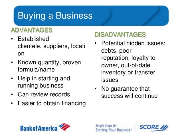 Buying a Business ADVANTAGES • Established clientele, suppliers, locati on • Known quantity, proven formula/name • Help in...
