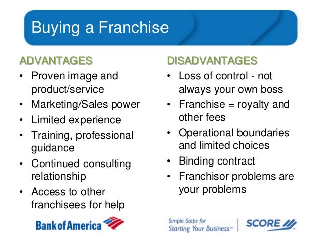 Buying a Franchise ADVANTAGES • Proven image and product/service • Marketing/Sales power • Limited experience • Training, ...
