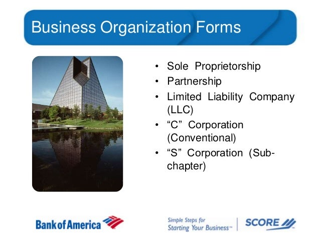"Business Organization Forms • Sole Proprietorship • Partnership • Limited Liability Company (LLC) • ""C"" Corporation (Conve..."