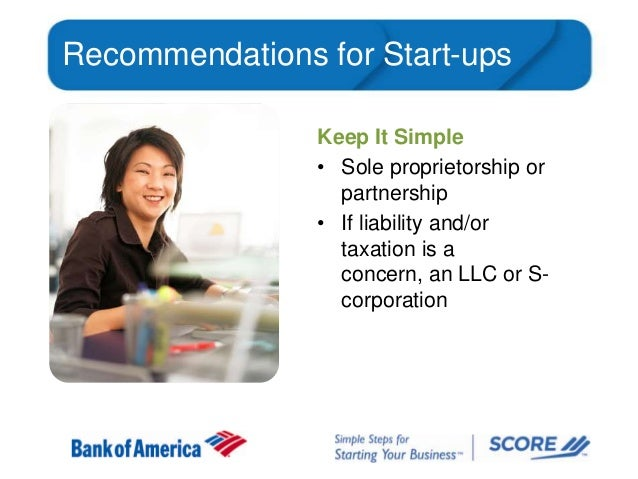 Recommendations for Start-ups Keep It Simple • Sole proprietorship or partnership • If liability and/or taxation is a conc...