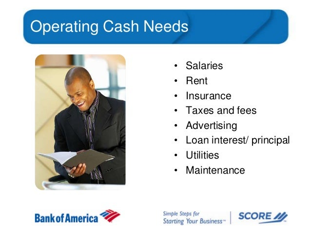 Operating Cash Needs • • • • • • • •  Salaries Rent Insurance Taxes and fees Advertising Loan interest/ principal Utilitie...