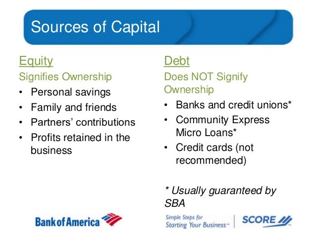 Sources of Capital Equity  Debt  Signifies Ownership • Personal savings • Family and friends • Partners' contributions • P...