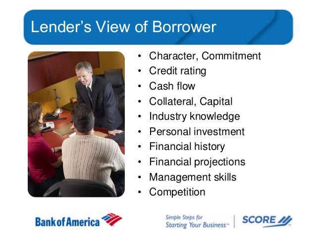 Lender's View of Borrower • • • • • • • • • •  Character, Commitment Credit rating Cash flow Collateral, Capital Industry ...