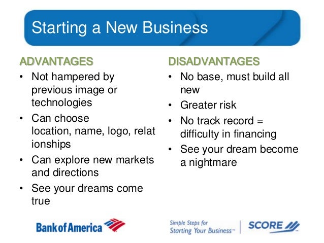 Starting a New Business ADVANTAGES • Not hampered by previous image or technologies • Can choose location, name, logo, rel...