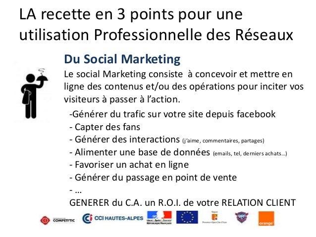LA recette en 3 points pour une utilisation Professionnelle des Réseaux Du Social Marketing Le social Marketing consiste à...