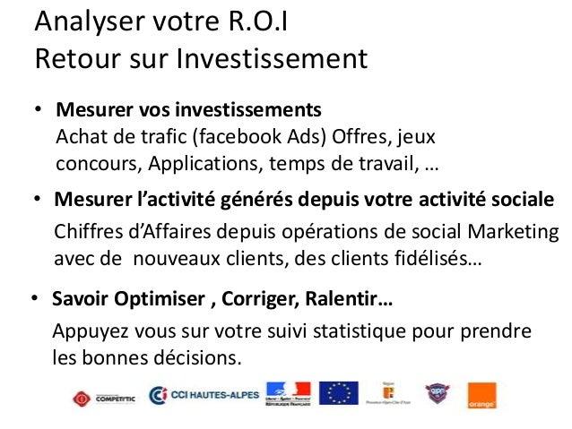 Analyser votre R.O.I Retour sur Investissement • Mesurer vos investissements Achat de trafic (facebook Ads) Offres, jeux c...