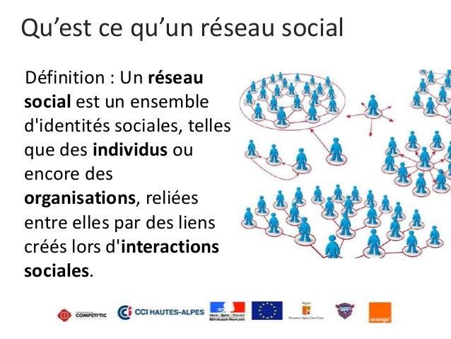 Qu'est ce qu'un réseau social Définition : Un réseau social est un ensemble d'identités sociales, telles que des individus...