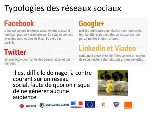 Typologies des réseaux sociaux  Il est difficile de nager à contre courant sur un réseau social, faute de quoi on risque d...